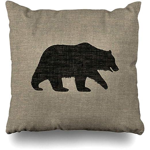 LOVE GIRL Fundas de cojín Oso Grizzly Bear Silueta Faux ...