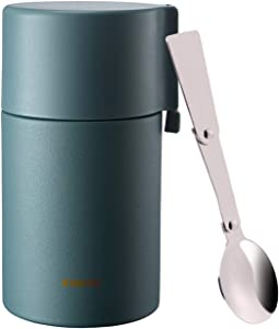 Food Jar 18.5 oz, Vacuum Insulated Stainless Steel Thermos with Folding Spoon Wide Mouth, BPA Free Adults Kids Lunch Box Storage Container, Leakproof Double Walled Travel Tumbler for Hot/Cold Soup