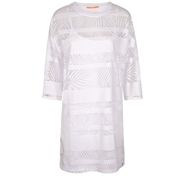 Hugo Boss Orange Sheer Patterened Dress SMALL WHITE