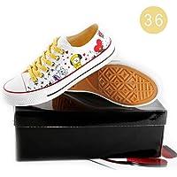 Canvas Shoes Unisex Kpop BTS Bangtan Boys BT21 Cartoon Pattern Low Tops Casual Sneakers