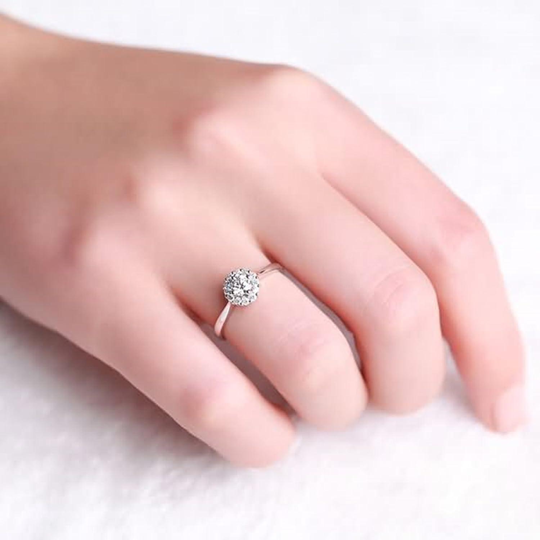 Beydodo Wedding Rings for Women Size J 1/2-Q 1/2 Flower Ring Silver ...
