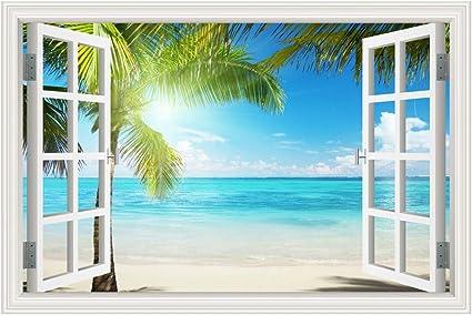Autocollant Mural Fenêtre 3D Plage Palmiers soleil Stickers muraux STICKER 38