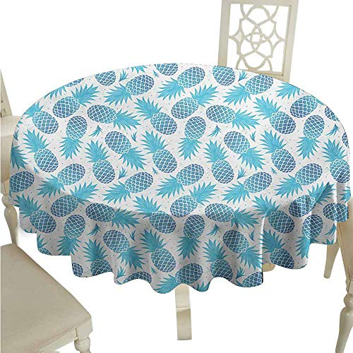 (duommhome Pineapple Waterproof Tablecloth Foliage Silhouettes Exotic Fruits Eighties Vintage Design Inspirations Easy Care D63 Blue and Pale Blue)