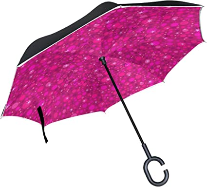 Double Layer Inverted Inverted Umbrella Is Light And Sturdy Pink Repeat Pattern Black Rabbit Reverse Umbrella And Windproof Umbrella Edge Night Refle