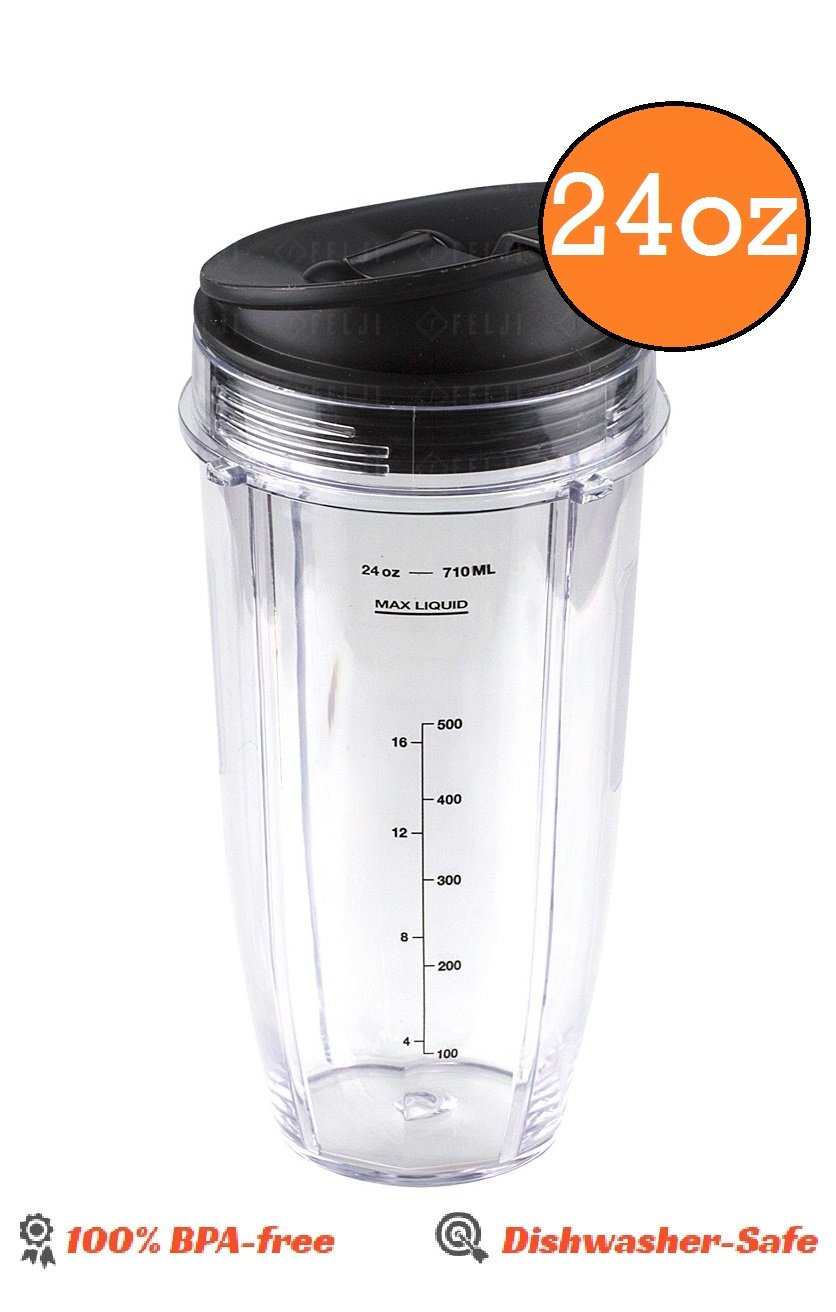Ninja Blender 24 OZ Medium Sized Cup with Sip And Seal Lid replacement part for Nutri NutriNinja Auto iQ