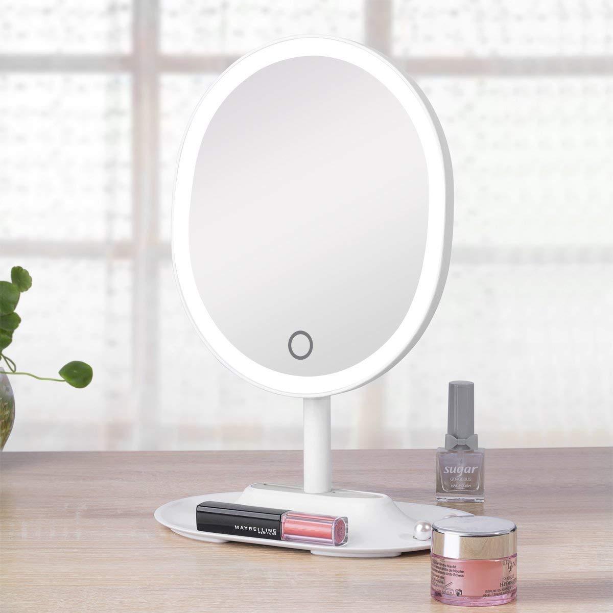 Specchio per Trucco THZY Batteria Ricaricabile Cosmetico LED Illuminazione Schermo Tattile Luci Regolabile Ingradimento 1X / 5X dello specchio di trucco per Trucco, Camera da Letto, Rasatura (Bianco) I900013