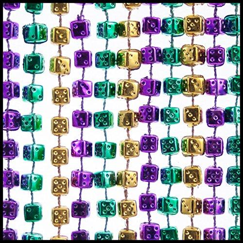 Dice Mardi Gras Beads - 1 Dozen Purple, Green, Gold for Casino or Bunco Parties (Dice Mardi Gras Beads)