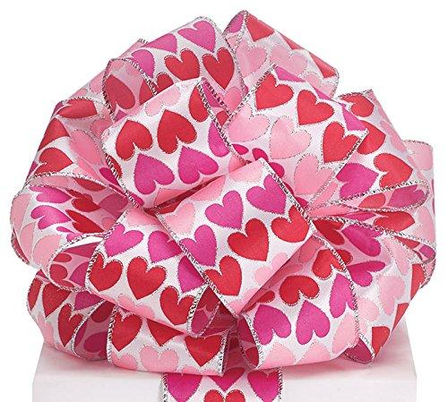 Burton & Burton Valentines Heart Satin Wired Ribbon Childrens Party (Hearts Satin Ribbon)