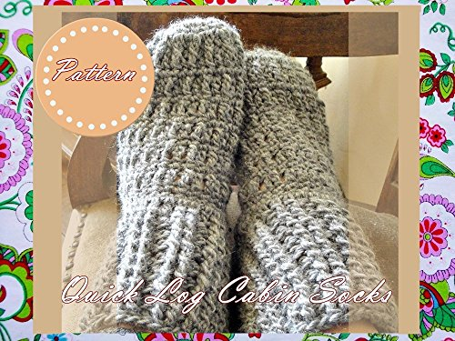 Quick Log Cabin Socks Crochet Pattern: Unisex Adult Sizes (Crochet Slipper Sock Pattern)