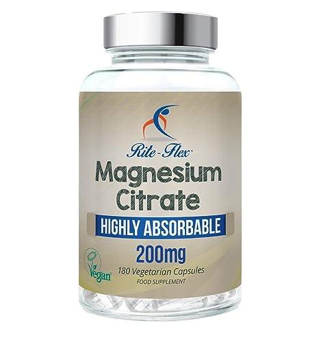 Cápsulas certificadas Vegano del citrato de magnesio 200mg 180, magnesio altamente absorbible de Rite-