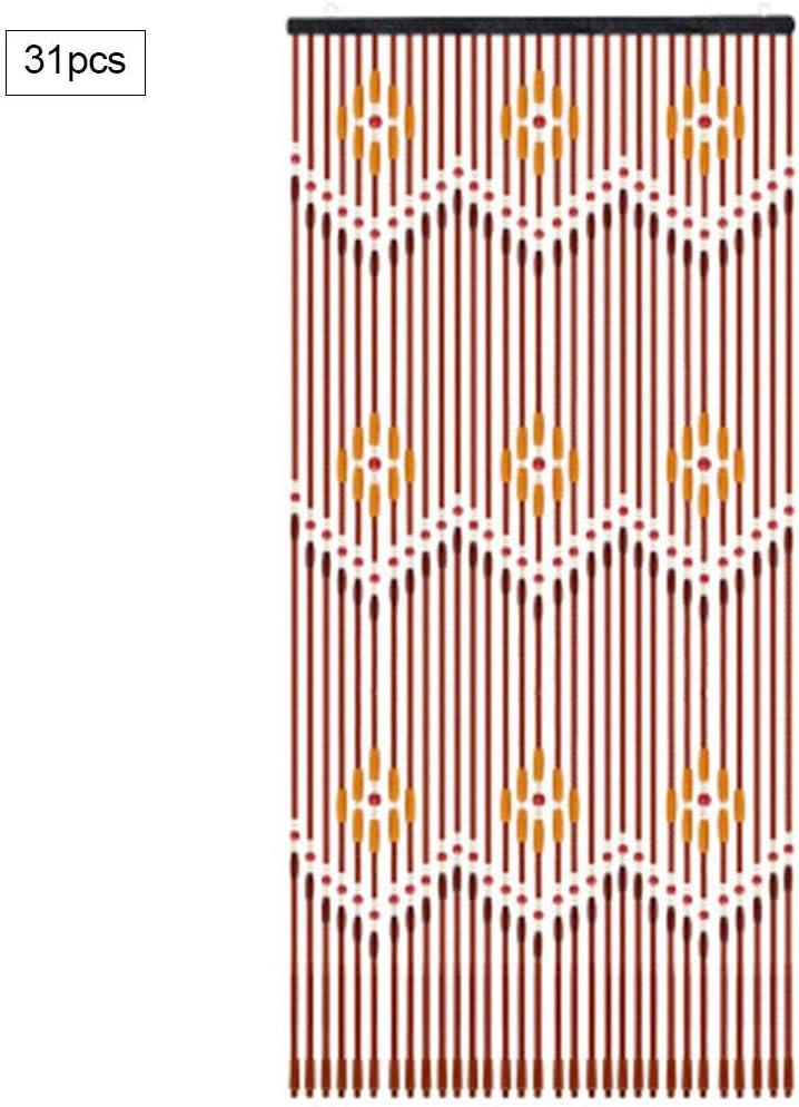 Childlike Cortina De Cuentas Madera - 31 Líneas De Cortina De Madera para Puerta Exterior De Estilo Chino, Cortina De Cuentas Madera para Exterior/Interior/Cocina/Veranda/Dormitorio/Sala De Expert