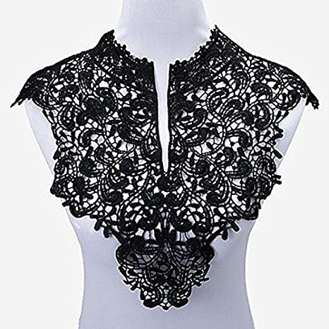Yulakes - Collar de encaje para decoración de vestidos y manualidades, 2 unidades, delanteras + traseras, talla única