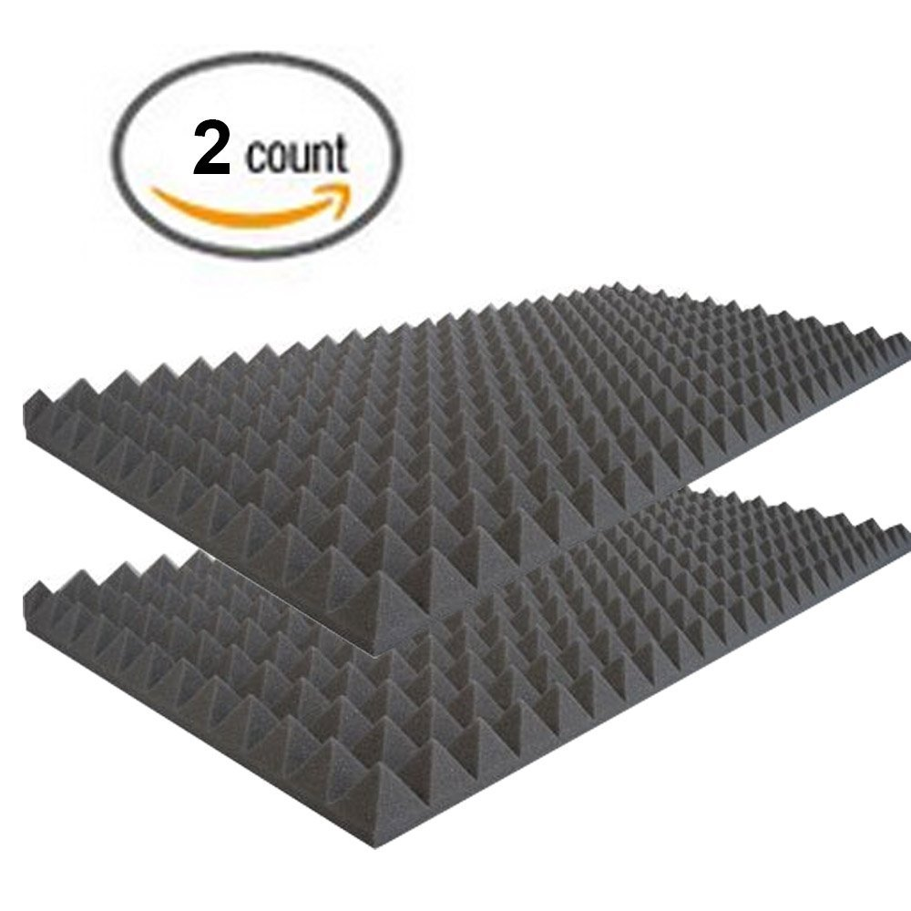 Acoustic Foam Sound Absorption Pyramid Studio Treatment Wall Panel, 48'' X 24'' X 2'' (2 Pack)