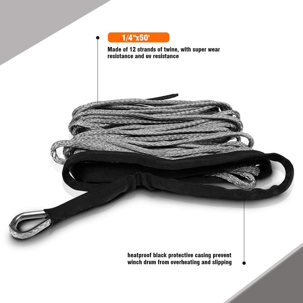 ZESUPER SK75 1//4 x 49 Dyneema Synthetic Winch Rope (10000LBS)