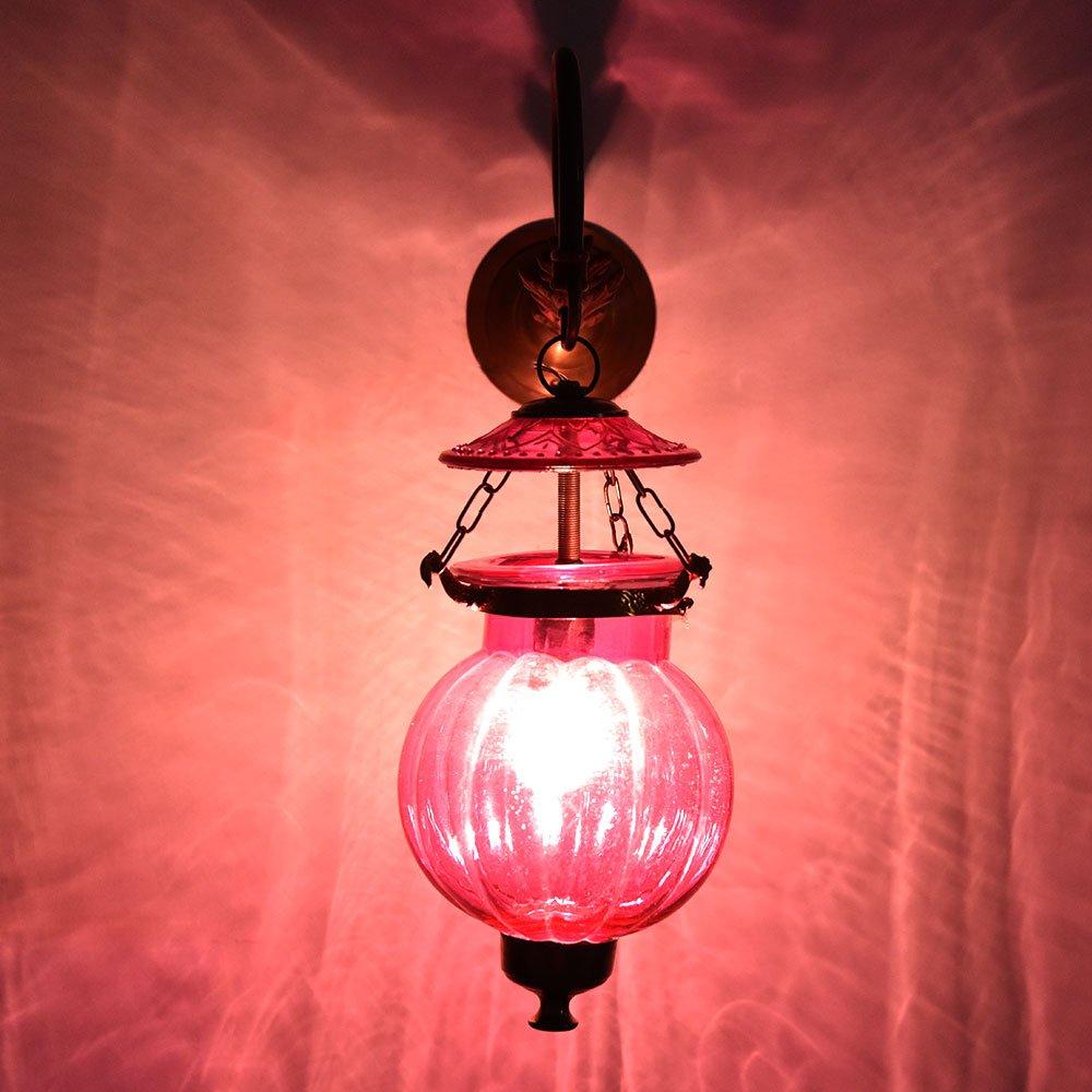 Handmade Vintage Melon Shaped Glass Pink Wall Lighting Lamp Sconces Hanging Bronze Bracket