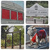 Set of 4 Marble Coasters, UGA, Georgia Bulldogs, Sanford Stadium, UGA Arch, UGA 1785