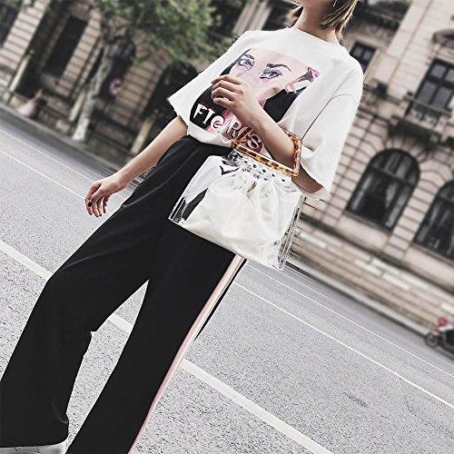 Clear Domybest PVC Chain Women Messenger Flap Hasp Bag Shoulder Girls White Handbag Casual 6IIBSr