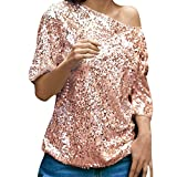 Fheaven Womens Sequins Sparkle Half Sleeve Oblique Casual Party Top T-Shirt Blouse (XL, Pink)