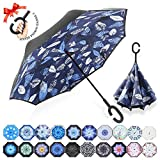 : ZOMAKE Double Layer Inverted Umbrella Cars Reverse Umbrella, UV Protection Windproof Large Straight Umbrella for Car Rain Outdoor With C-Shaped Handle(Blue/White leaf)