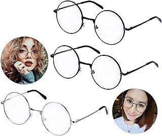 Ukainiemai 3 paia occhiali rotondi retro unisex telaio metallico nero, argento metallo di colore vetro dell'obiettivo Damen Herren frame finestra di vetro (Round)