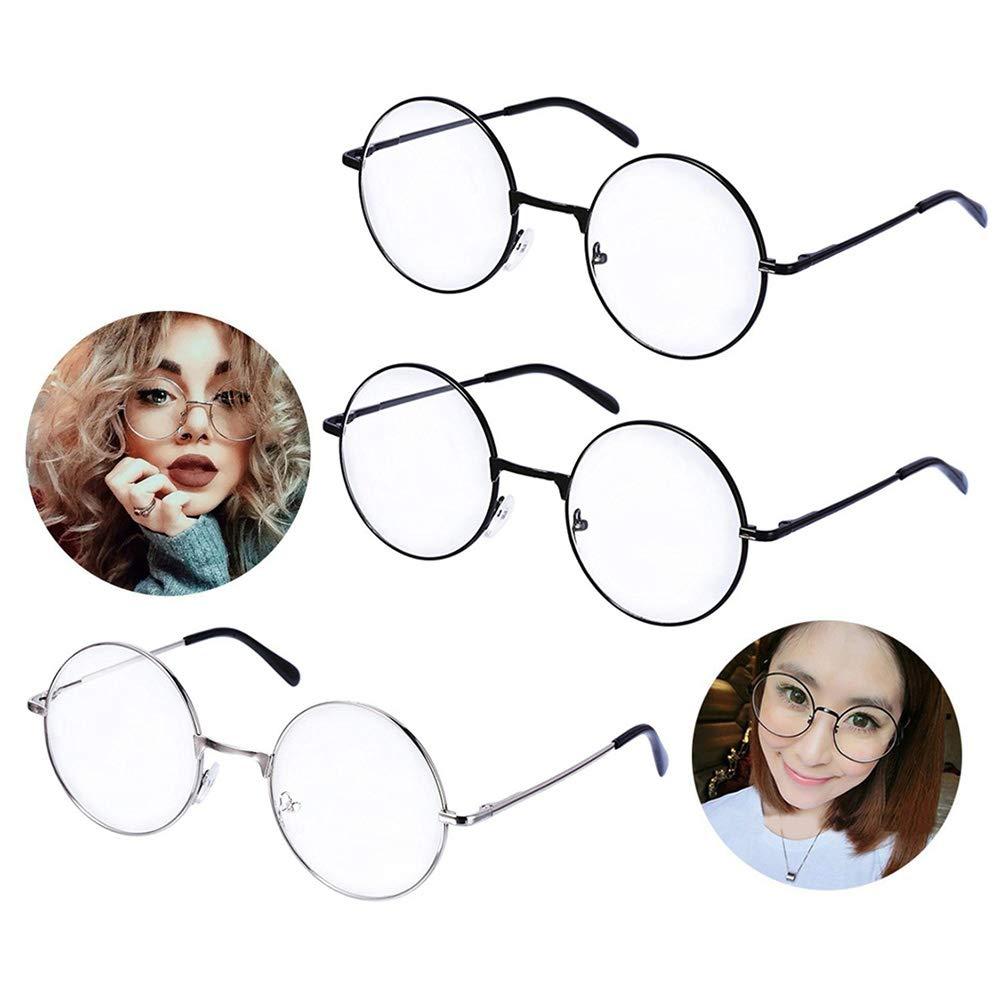 Pack de 3 pares de gafas redondas con marco negro y lente transparente.