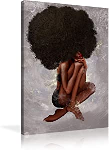 Urttiiyy Sexy Black Girl Wall Decor African American Canvas Wall Art Afro Curly Hair Woman Paintings Poster Prints for Home Bedroom Framed Ready to Hang - 24''x36''