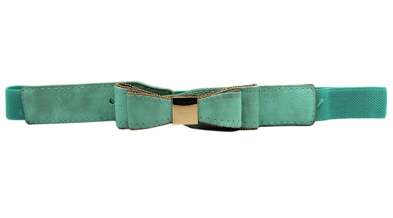 Aqua Blue Elastic Fashion Bow Belt