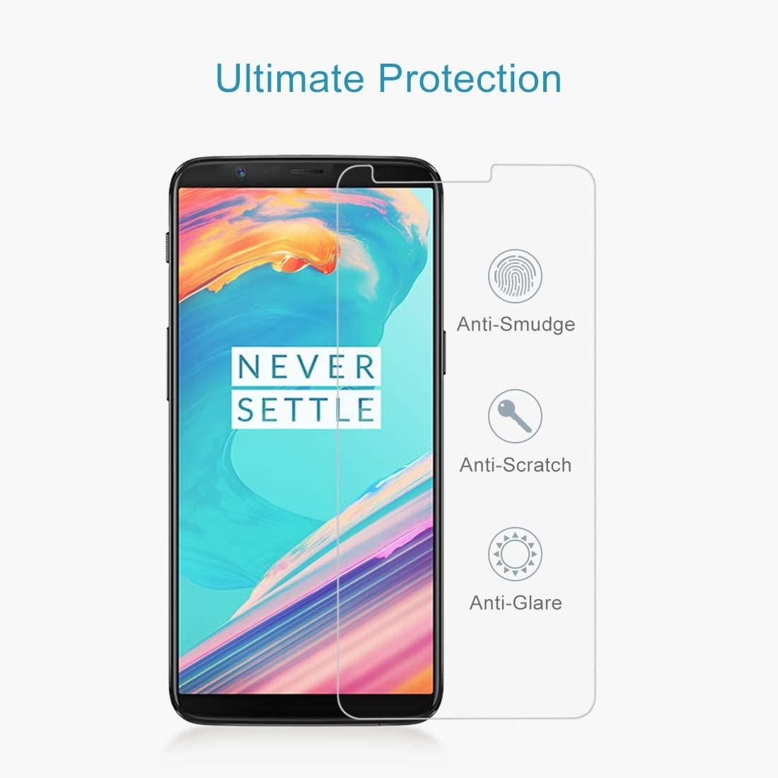 No Retail Package JIANGNIUS Screen Protectors 50 PCS for Oneplus 5T 0.26mm 9H Surface Hardness 2.5D Explosion-Proof Tempered Glass Non-Full Screen Film