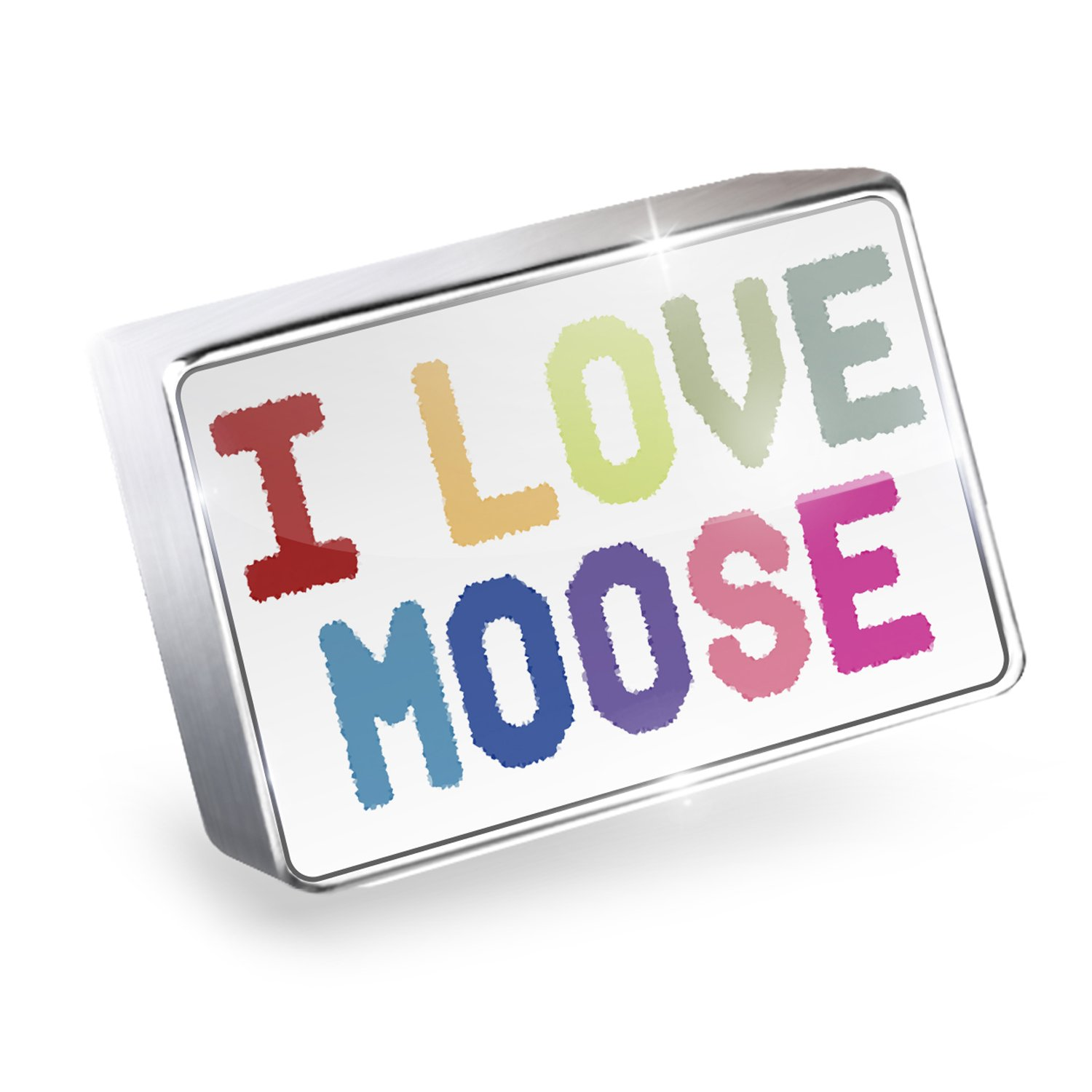Floating Charm I Love Moose,Colorful Fits Glass Lockets, Neonblond