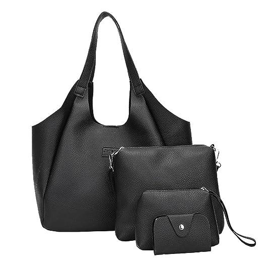 Amazon.com  Rakkiss Women Handbag Shoulder Bags Four Pieces Tote Bag Four  Set Crossbody Wallet(A Total Of Four Bags) (One Size 87627bf8294bd