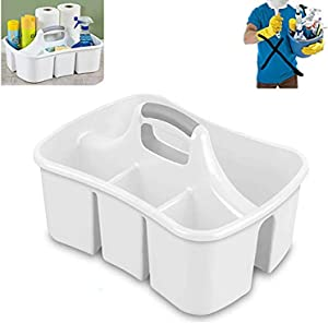 Bath Caddie White - Totes with Divided Compartments and Handles for Organizing, Storing & Carrying Cleaning Supplies and Bathroom Accessories (Large Cleaning Caddy)