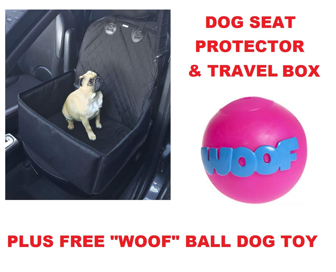 2 In 1 Foldable Dog Car Seat Protector & Pet Travel Box & Woof Toy Ball Package Package Roaduserdirect Packages