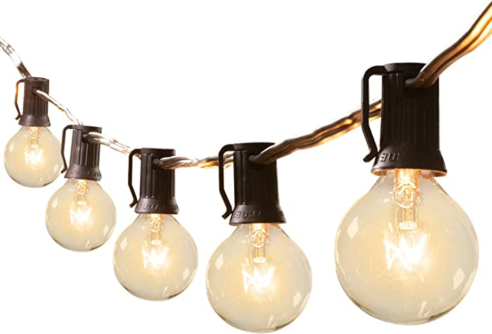 25Ft G40 Outdoor Patio String Lights-Connectable Globe Lights with 26 Clear Bulbs(1 Spare), UL Listed Backyard Lights for Indoor/Outside Commercial Decor, 25 Hanging Sockets, E12 Base, 5W Bulb, Black