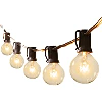 25Feet G40 Outdoor Patio String Lights-Connectable Globe Lights with 27 Clear Bulbs(2 Spare), UL Listed Backyard Lights…