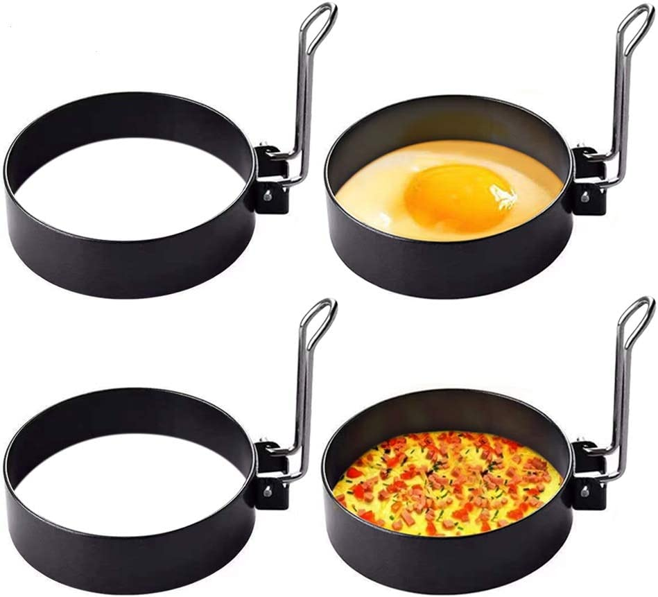 Stainless Steel Egg Ring,4 Pack Round Breakfast Household Mold Tool Cooking,Round Egg Cooker Rings For Frying Shaping Cooking Eggs,Egg Maker Molds…