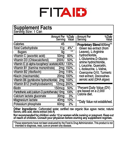 LifeAID Beverage, FITAID - Recover - Recovery for Your Active Lifestyle - 12 Oz (Pack of 24)