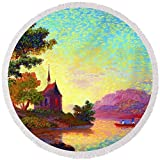 Pixels Round Beach Towel With Tassels featuring ''Beautiful Church, Place Of Welcome'' by Jane Small