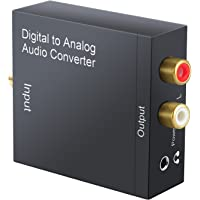 Neoteck DAC Digital to Analog Audio Converter Optical Coaxial Toslink Signal to Analog Audio Adapter RCA L/R with 3.5mm Jack Output for HDTV Blu Ray DVD Sky HD Xbox 360 PS3 TV Box