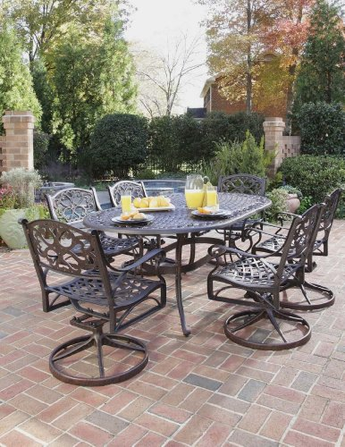 Home Styles 5555-335 Biscayne 7-Piece Outdoor Dining Set, Rust Bronze Finish - Patio Table Finish