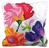 RTO'' Stylish Flowers II Collection D'Art Stamped Needlepoint Cushion Kit, 40 x 40cm