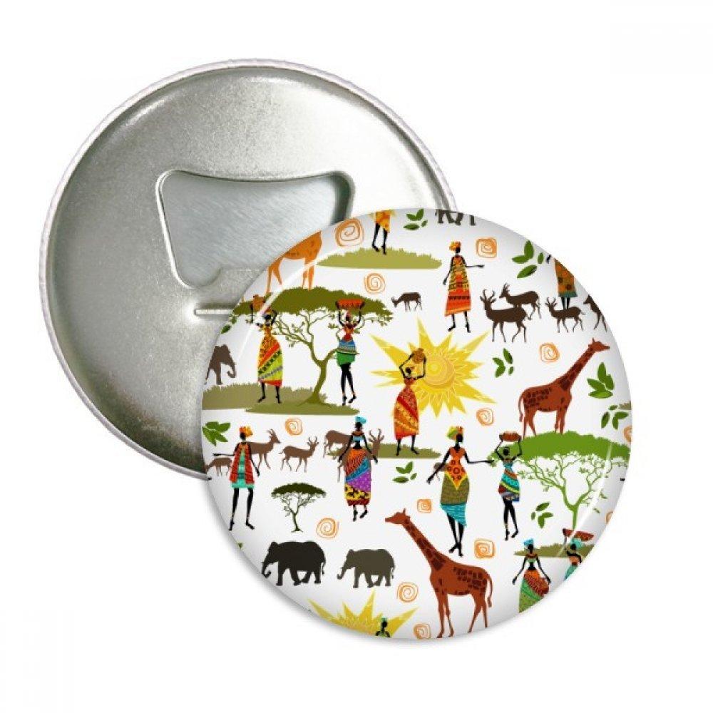 African Savanna Black Women Wildlife Animals Round Bottle Opener Refrigerator Magnet Pins Badge Button Gift 3pcs