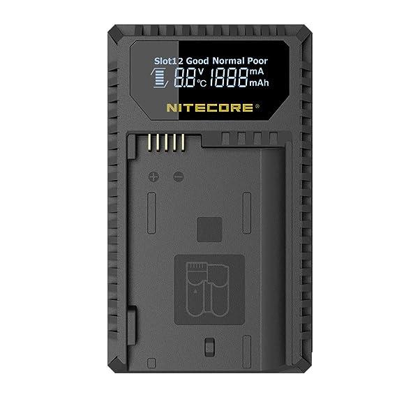 Nitecore nitunk1 Cargador Doble con Pantalla LCD para Nikon Batería EN-EL14/EN-EL14 a/EN-EL15 Negro