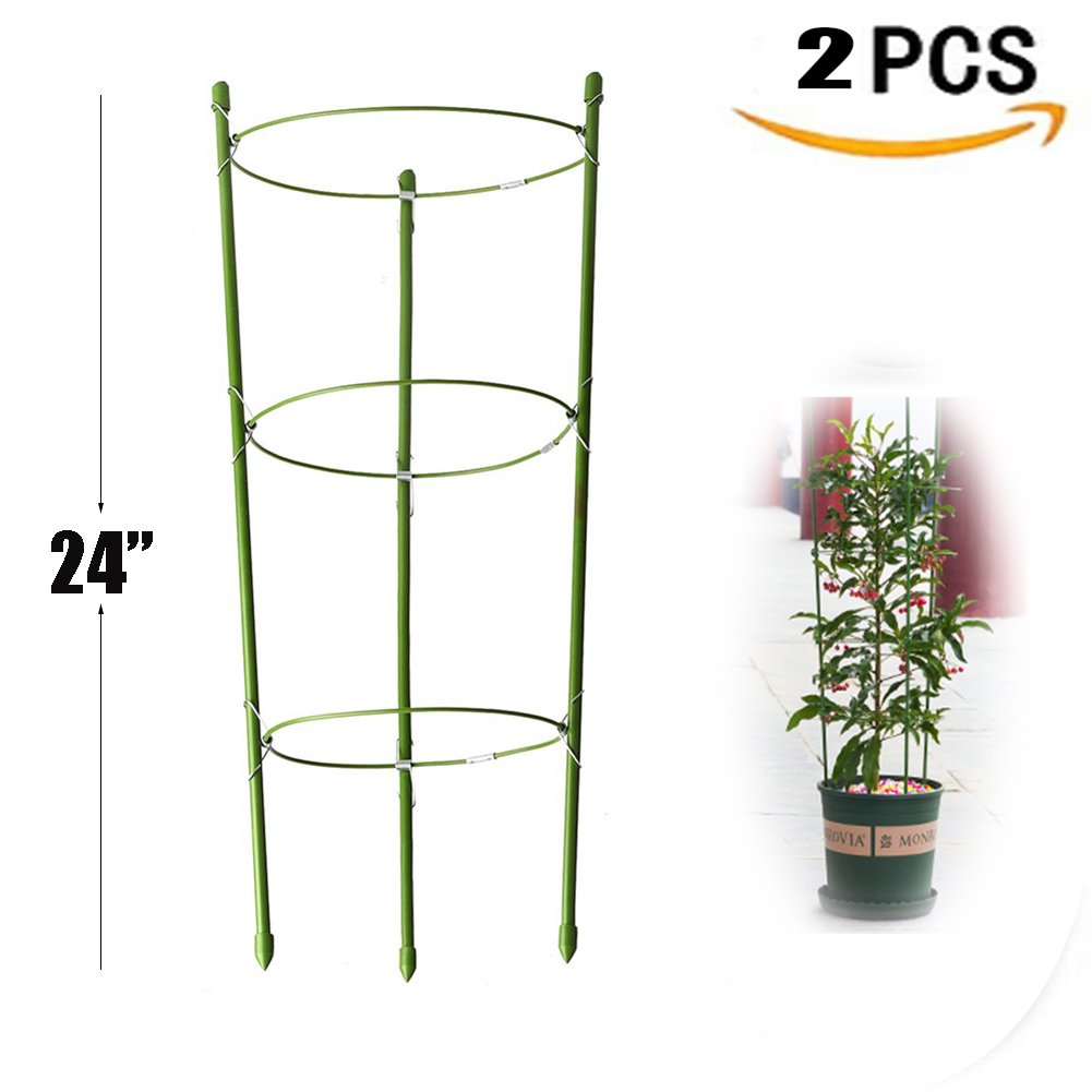 Yojoloin 2 Pack Garden Plant Support Ring Large Size Garden Trellis Flower stainless Steel Support Climbing Vegtables&Flowers&Fruit Grow Cage with 3 Adjustable Rings 24''(2PCS)