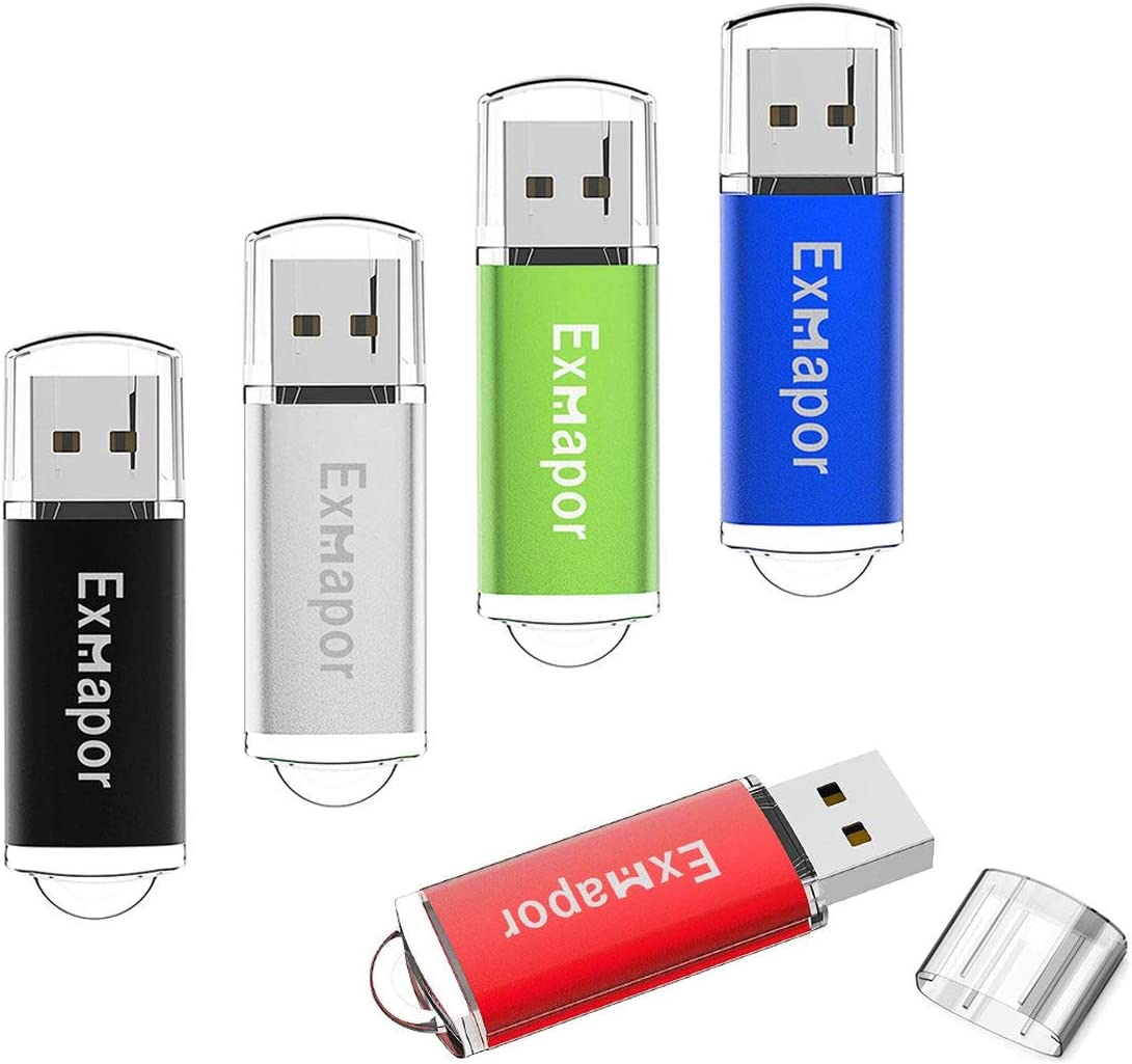 Exmapor 5PCS 2GB USB Flash Drive Bulk Storage Memory Stick Pen Drives with LED Indicator(Red/Black/Silver/Green/Blue)