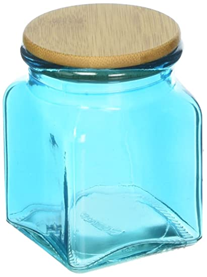 c634228ba022 Amazon.com: Couronne Company 6154G09-BL Square Glass Jar with Bamboo ...