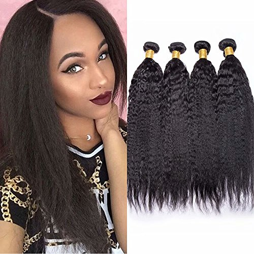 Maxine 9A Brazilian Kinky Straight Human Hair 3 Bundles Yaki Straight Hair Weave 100% Unprocessed Virgin Human Hair Extensions Kinkys Straight Hair Weave Natural Black Color(16 18 20 inch)