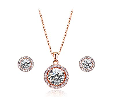 Amazon.com  Elensan Women s Round Crystal Sets Necklace and Earrings ... 99ef440220