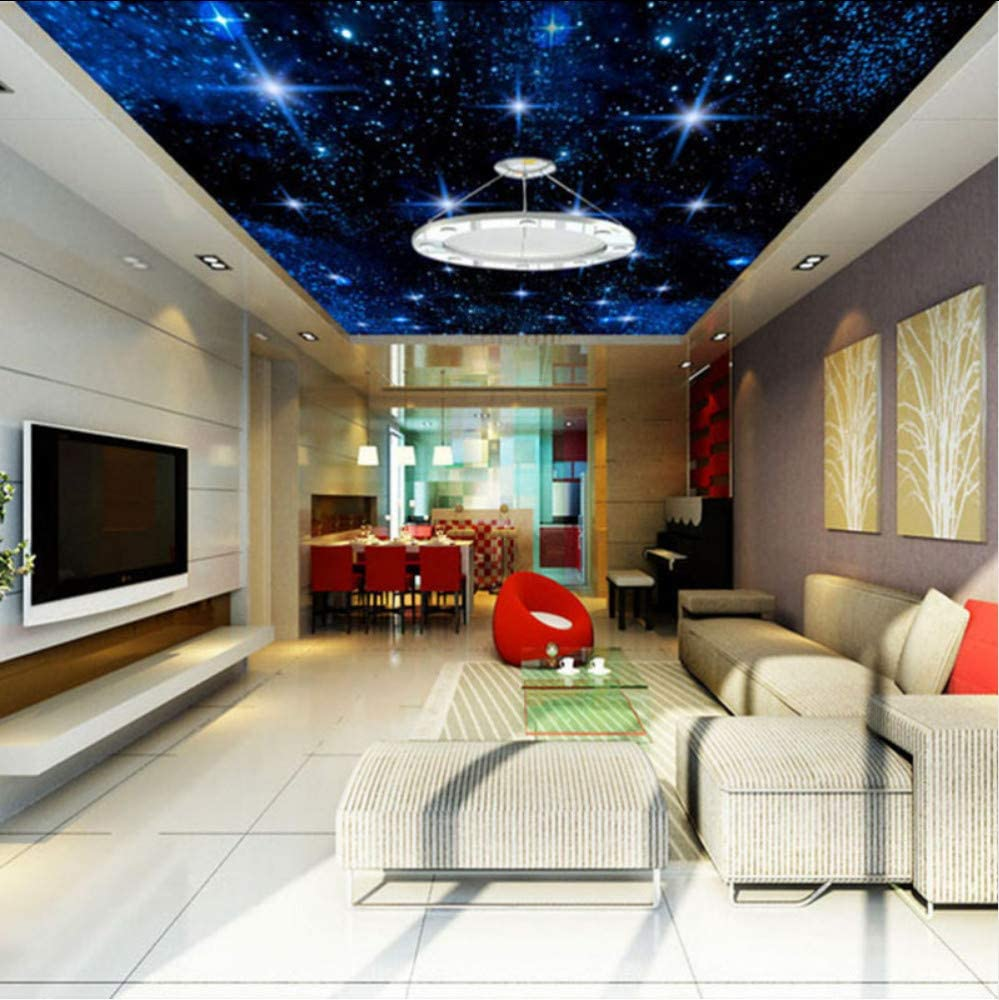 Knncch Personalizado Gran Mosaico Inconsútil Techo Zenith Mural Wallpaper 3D Estéreo Cielo Estrellado Paisaje Pintura De Pared Sala De Estar Decoración Para El Hogar-120X100Cm