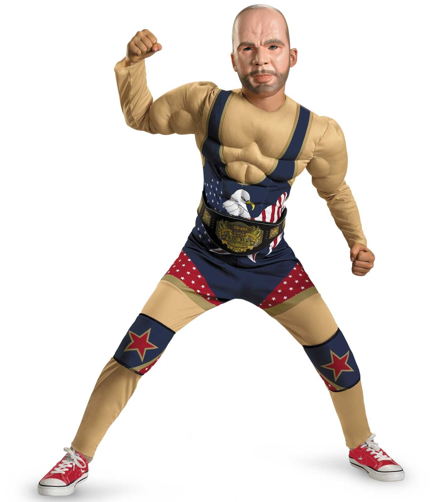 Tna Impact Wrestling Kurt Angle Classic Muscle Costume, Tan/Red/White/Blue, Medium by Disguise