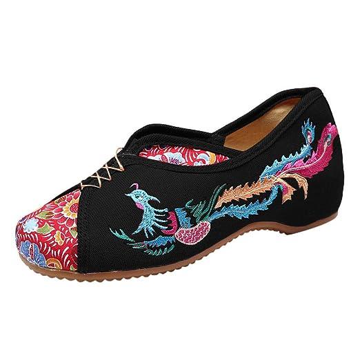 Moda para Mujer Deslizarse en Las cuñas Bordar Ocio Ocio Zapatos de Baile Zapatos Inferiores Gruesos